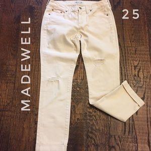 Madewell distressed cuffed boyfriend cut jeans